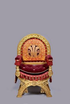 Throne of the Prince of Wales, 1847. Designed by Augustus Welby Northmore Pugin; made by John Webb. Gilded wood and embroidered velvet upholstery. Marquess of Cholmondeley, Houghton Hall. Photo: Pete Huggins, by kind permission of Houghton Hall, EX.2013.HH.059.1