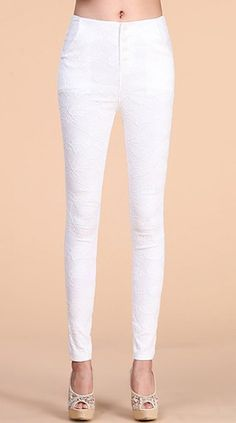 $11.45 Lace Design Single Breasted Solid Color Pocket Splicing Slimming Pencil Pants For Women