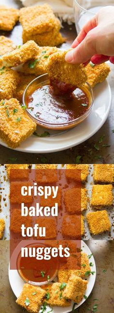 Stuff these crispy baked tofu nuggets in a sandwich, pile them on your favorite salad, or dip them in your favorite sauce. These versatile little bites are delicious any way you eat them, and super easy to whip up! Vegan Recipes Videos, Veggie Recipes, Whole Food Recipes, Vegetarian Recipes, Cooking Recipes, Healthy Recipes, Easy Tofu Recipes, Cooking Tips, Veggie Food