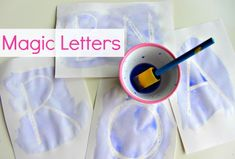 Magic Letters - Fun letter recognition activity using crayon resist. Maybe for alphabet party. Preschool Literacy, Preschool Letters, Learning Letters, Fun Learning, Early Literacy, Toddler Activities, Alphabet Crafts, Letter A Crafts, Early Childhood Education