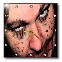 3dRose - Jos Fauxtographee Holiday - An Ugly Halloween Face of a Clown With Mysterious Eyes Looking Upward Very Scary - Wall Clocks