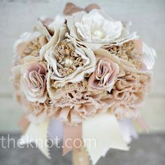"""The newest trend along with brooch bouquets. Preserve your bouquet with fabric flowers! Make use of special fabric for your """"something old. Broschen Bouquets, Wedding Bouquets, Wedding Flowers, Wedding Dresses, Floral Wedding, Wedding Colors, Fabric Bouquet, Fabric Flowers, Burlap Bouquet"""