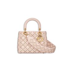 "SUPPLE ""LADY DIOR"" BAG IN POWDER PINK STUDDED LAMBSKIN ❤ liked on Polyvore featuring bags, handbags, lamb leather handbags, lambskin handbags, pink studded purse, studded bag and pink purse"