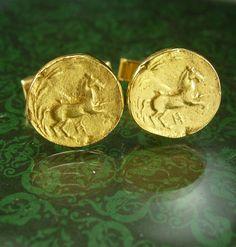 Ancient Greek Horse coin Cufflinks Vintage by NeatstuffAntiques