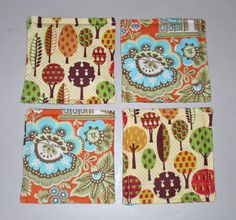 Drink Coasters  5x5 Set of 4 Reversible Drink by PersnicketyHome, $12.00