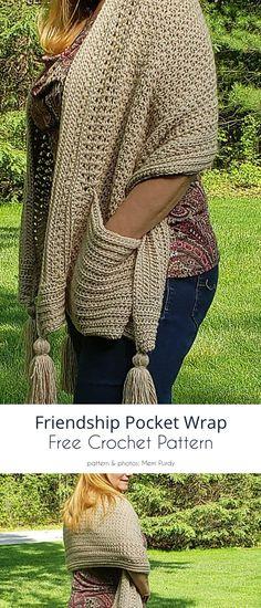 Friendship Pocket Wrap Cardigan Au Crochet, Crochet Shawl Free, Pull Crochet, Mode Crochet, Crochet Wrap Pattern, Crochet Shawls And Wraps, Crochet Scarves, Crochet Clothes, Crochet Stitches
