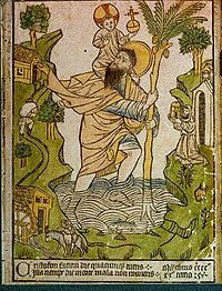 The earliest known woodcut, 1423, Buxheim, with hand-colouring  Woodcut print with hand-colouring of St Christopher from Buxheim on the Upper Rhine dated 1423.