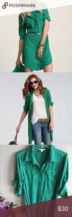 Cabi Spring 13 Emerald Shirt Dress Cabi Spring '13 Emerald Shirt Dress, Size Large. Belt not included. 100% polyester. CAbi Dresses Midi