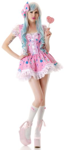 Lip Service Candy Lolita Dress is a sweet lil' slice of heaven on earth, that's totes super kawaii!! These two piece costume set comes with a candy printed hair bow, and a sexxxy flirty candy printed dress that features a round scoop lace neckline, sheer puff sleeves, and a keyhole back with a zipper closure that'll give all the boys a toothache once they see you