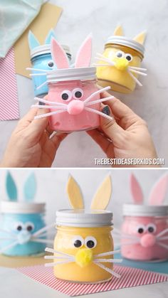 EASTER BUNNY SLIME 🐰- such a fun Easter craft for kids! Make Easter slime or just make these adorable Easter bunny mason jars. EASTER BUNNY SLIME 🐰- such a fun Easter craft for kids! Make Easter slime or just make these adorable Easter bunny mason jars. Easy Easter Crafts, Bunny Crafts, Easter Projects, Easter Crafts For Kids, Art Projects, Kids Diy, Easter Crafts For Preschoolers, Rabbit Crafts, Easter Stuff