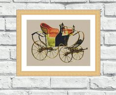 """Vintage looking, counted cross stitch pattern, """"Old Carriage"""" a lovely, modern, elegant and colourful design. Perfect for any room, especially living rooms, offices and kids rooms. $6,99"""