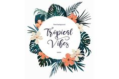 Exotic vector tropical logo with leaves, flower, text. Isolated on white background. Tropical Design, Tropical Vibes, Tropic Logo, Flamingo Logo, Flower Text, Restaurant Logo Design, Sky Design, Floral Logo, Purple Sky