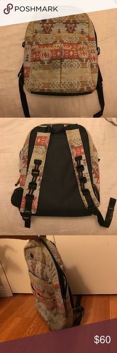 Fine Products of Efficiency Backpack Fun backpack in great condition! Has laptop slot inside and lots of pockets but is low profile. Small stain on the front but it is hardly noticeable with the print Fine Products of Efficiency Bags Backpacks