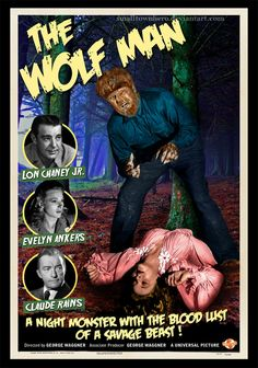 THE WOLF MAN (1943) - Lon Chaney Jr. - Evelyn Ankers - Claude Rains - Directed by George WaGGner - Univeral Pictures - Movie Poster.