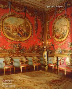 The Tapestry Room at Osterley Park designed in the by Adam for Robert Child, showing Boucher's medallion tapestries with a sofa and chairs upholstered in rose damas cramoisy to match the walls Estilo Adam, Decoration, Art Decor, Georgian Interiors, French Interiors, Grand Homes, Old World Style, Parking Design, Traditional Interior