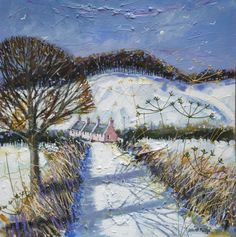 Long, Snowy Shadows near Fowlin Landscape Illustration, Illustration Art, Winter Fairy, Building Art, Christmas Paintings, Snow Scenes, Illustrations And Posters, Art Pictures, Painting & Drawing