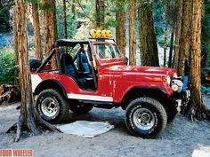 Uh...fun! 76 CJ5 ours was also lifted, red, full cage and light bar. It looked a lot like this one.