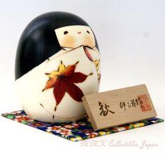 Lovely Creative Kokeshi Doll AKI (AUTUMN) by Usaburo