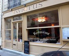 Invictus is located on a side street, just east of the Luxembourg Garden.  Its wide, tall, curtainless windows allow ample daylight to enter into the dining room where a reposing atmosphere reigns. http://www.parisinsights.com/restaurants.php