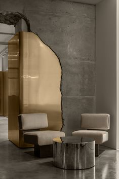 Gold Interior, Cafe Interior, Interior And Exterior, Exterior Wall Design, Revit Architecture, Interior Architecture, Café Bistro, Curved Walls, Lounge Areas