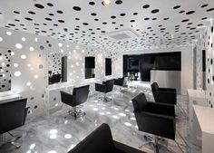 Salon Decor - This hair salon design was designed by Yasunari Tsukada. This is a hair salon that just opened and is located in the old area of Osaka. Salon name is Ajax, the idea is to make the interior with sunlight illumination through tiny holes with three different sizes, and this is the result.