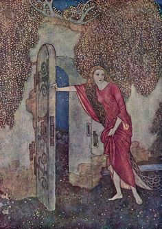 But Nicolette one night escaped.  An Edmund Dulac illustration for Aucassin and Nicolette from Edmund Dulac's Picture Book