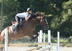 Sam - fourth generation rider! -  jumping with Beau