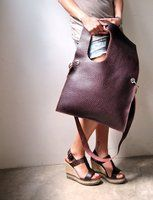 hammered leather square bag