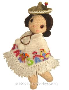 Mexican Girly Doll Made Awards-Free Craft Patterns Craft Patterns, Knitting Patterns, Crochet Patterns, Doll Patterns, Crochet Cactus, Cute Crochet, Mexican Christmas, Thinking Day, Knitted Dolls