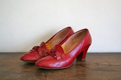 vintage 50s red shoes  ENNA JETTICKS oxblood leather by MsTips, $82.00
