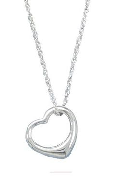 "Chain Necklace With ""Floating Heart"" Pendant        Price: $44.95"