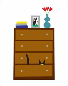 "The ""Cat in Dresser"" 11 X 14 print.  Inspired by my black kitty, Peanut."