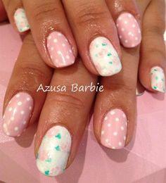 polka dots with flowers by azusa - Nail Art Gallery nailartgallery.nailsmag.com by Nails Magazine www.nailsmag.com #nailart