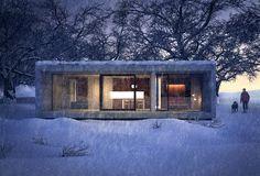 Inspiration - The Magic Hour Vol. 3d Architectural Visualization, Architecture Visualization, 3d Visualization, Architecture Design, Magic Hour, Winter Night, Prefab Homes, Winter Scenes, Photoshop