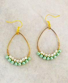 Hoop Earrings  Pearls Earrings  Mint Earrings  by ThuyVosJewelBox, $16.00