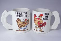 I RULE THE ROOST ROOSTER Mug Cup VTG Mom Dad Set Farm Hen Chickens Coffee FUNNY