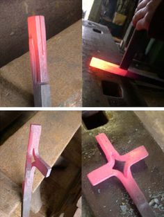 Forged cross - a beautiful example of what a little planning lets you acomplish!  A few cuts, reheat, pull sections apart, reheat, tweak the angles, and you are done!  But you MUST plan it all out first...