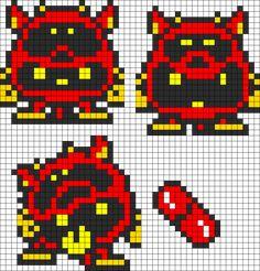 Dr. Mario red virus perler bead pattern