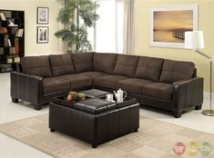 Lavena Contemporary Dark Brown Sectional Sofa Set with Leatherette Arms CM6453DK