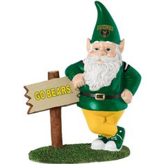 Help yours-elf to this fun campus Nordic Gnome! This poly resin gnome arrives leaning on a sign post displaying the school graphic, is hand-painted in the school colors, and features the school mascot on the front of his hat. Gnome is 9H and comes individually boxed.