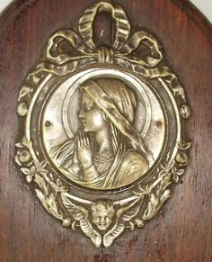 Religious ANTIQUE Silver Wood LOURDES VIRGIN MARY Reliquary Plaque w ANGEL-plqvm