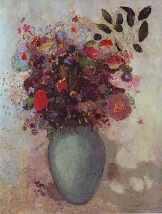 Odilon Redon. Flowers in a Turquoise Vase.