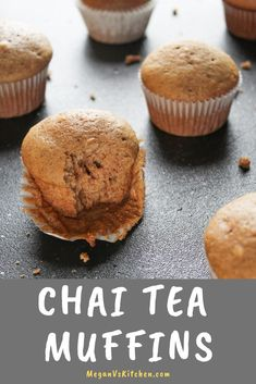 Warm up with these spiced Chai Tea Muffins. It's the perfect breakfast treat for any tea lover. These rich, spiced muffins won't disappoint! Easy Cake Recipes, Sweets Recipes, Tea Recipes, Baking Recipes, Recipies, Fall Recipes, Brunch Recipes, Desserts, Tea Cake Cookies