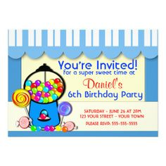 Sweet Shop Boy's Party Invite