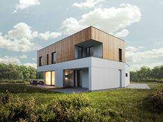 Diverted flat roof house
