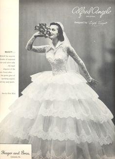 An Alfred Angelo original designed by Edythe Vincent, 1956, vintage designer fashion bride ad