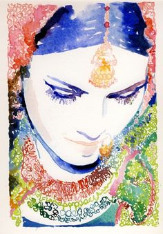 Watercolour Illustration Print Indian Bride by silverridgestudio