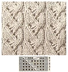 knit lace and cable stitch pattern with chart Cable Knitting Patterns, Knitting Stiches, Crochet Stitches Patterns, Knitting Charts, Lace Knitting, Stitch Patterns, Filet Crochet, Knit Crochet, Knit Lace