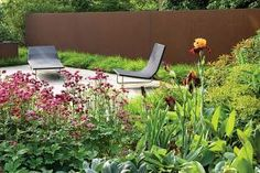 In his own Hertfordshire, Britain, garden, designer Tom Stuart-Smith erected a Corten wall and picked up its red tones with Astrantia 'Claret. Contemporary Garden Design, Garden Landscape Design, Landscape Designs, Small Gardens, Outdoor Gardens, Tom Stuart Smith, Deck With Pergola, Garden Architecture, Vegetable Garden