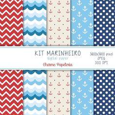 Kit de papéis marinheiro - Chame Papeteria #marinheiro, #nautico, #papel #digital
